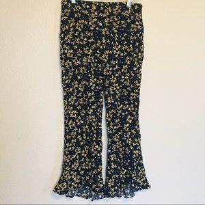 Lucy Paris Navy High Rise Floral Boho Ruffle Pants